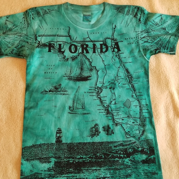 Gildan Other - Florida Map T Shirt double sided print MADE IN USA